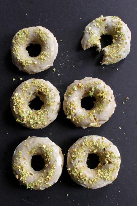 Cardamom Donuts with Rosewater Glaze & Pistachios